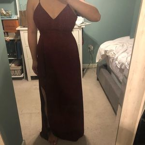 Maroon maxi dress with slit